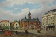"""Eduard Alexander Hilverdink (1846-1891) Het Leidseplein in Amsterdam met de Leidse Poort en de oude Stadsschouwburg (""""de Houten Kast"""")"""