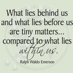 The number one reason to feel good about yourself....what lies within matters most.