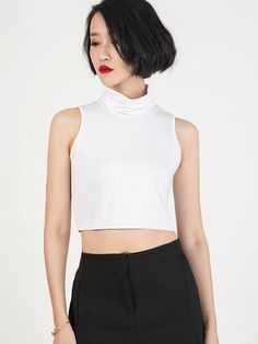 52%Polyester+48%Cotton;This White Sleeveless Roll Neck Crop Top crafted in Spandex and polyesterplease hand wash coldfeaturing high neck designsleevelessin plain printtight crop top.Casual styletextured fabricperfect cutfull details of the sense of designpersonalized and fashion.Wear with a pair of cute denim hot pantssome cool tights and tie a shirt around your waist for extra style points.Please refer to size information before your payment!More information please contact us we are always…