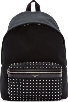 Saint Laurent: Black Studded Hunting Backpack   SSENSE