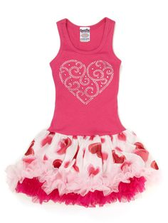 Special Tee Pink Crystal Heart Skirted Dress