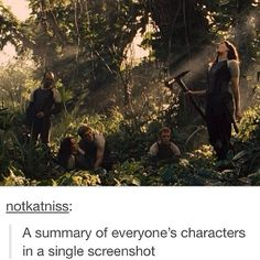 Joanna is ready to kill someone with her ax, Peeta is hovering over Katniss ready to protect her, Finnick is oblivious to it all, and Beetee is like, Wait, Wat?