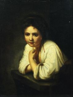 """""""Girl at the window,"""" after a #Rembrandt. #Flemish School of the #18th century. For sale on #Proantic by 800 - OTTOCENTO."""