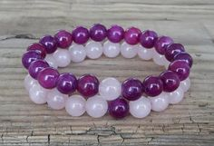 Yoga bracelets charoite and rose quartz by HarmonyLifeShop on Etsy