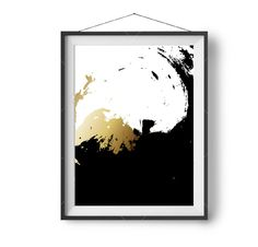 Wall Painting Black & White Art Faux Gold Printable