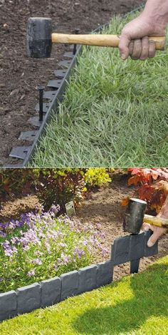 Create Awesome Garden Edging to Improve Your Curb Appeal Use Manufactured Plastic Edge Material to Create a No Dig Garden Edging Landscaping With Rocks, Front Yard Landscaping, Backyard Patio, Landscaping Ideas, Backyard Ideas, Driveway Landscaping, Fence Ideas, Landscaping Plants, Walkway