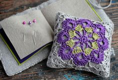 Gift set linen pincushion and needle book crocheted by namolio