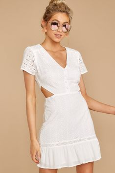 f14dfb6a61915 Lovely White Eyelet Lace Dress - Short Cutout Lace Dress - Dress - $52 – Red