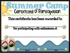 Certificate of completion teaching camp fun pinterest summer camp participation certificate 3 yadclub Choice Image