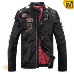 Men's Designer Black Leather Motorcycle Jackets CW813028