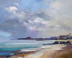 Passing Shower, Lyme Regis. Oil on board 61x76 cm. David Atkins