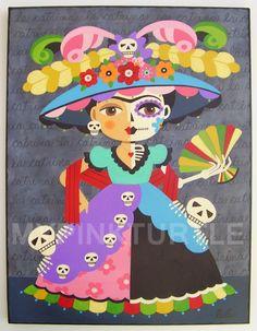 FRIDA Kahlo La Catrina 12 x 16 ORIGINAL folk by MyPinkTurtleShop, $275.00