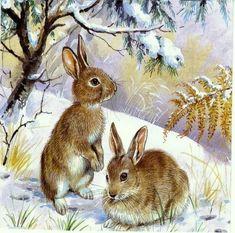 ru / Photo # 94 – Mice, bears, bunnies, hedgehogs … – … – About Hobby Sports Animal Paintings, Animal Drawings, Cute Drawings, Hunting Wallpaper, Decoupage, Hunting Art, Rabbit Art, Bunny Art, Woodland Creatures