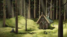 Low Poly forest cottage