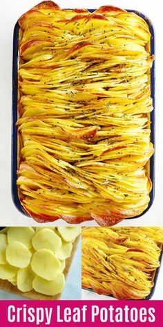 Crispy Leaf Potatoes - the BEST roasted potatoes you'll ever make. Crazy delicious sliced potatoes that taste like potato chips, except that they are even better. Make this for holidays or every day! Crispy Potatoes, Roasted Potatoes, Sliced Potatoes, Rasa Malaysia, Tasty, Yummy Food, Delicious Recipes, Easy Recipes, Potato Recipes