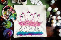 Dancing flamingos 🌸 #studiomarsandstars #pillowdesign #pillowdecor #handmade #handpainted #design #designer #art #artstudio #artwork #watercolor #fabricpaint #smallbusiness #interior #interiordesign #decor #decoration #homedecor #roomdecor #gift #bestgiftever #cushion #throwpillow #flamingo #pink #flamingos