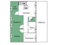 Plattegrond mini-appartement (met groen aangegeven)