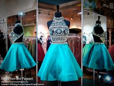 Black Teal Two Piece High Neckline Open Back Short Homecoming Dress Más Teal Homecoming Dresses, Sherri Hill Prom Dresses, Hoco Dresses, Pageant Dresses, Quinceanera Dresses, Sexy Dresses, Sparkly Dresses, Sweet 16 Dresses, Pretty Dresses