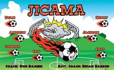 Jicama B54523  digitally printed vinyl soccer sports team banner. Made in the USA and shipped fast by BannersUSA.  You can easily create a similar banner using our Live Designer where you can manipulate ALL of the elements of ANY template.  You can change colors, add/change/remove text and graphics and resize the elements of your design, making it completely your own creation.