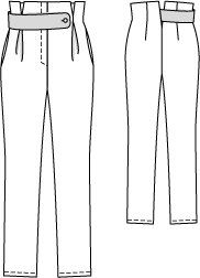 High Waist Button Tab Pants 09/2014 #113 – Sewing Patterns   BurdaStyle.com Flat Drawings, Flat Sketches, Cool Sketches, Technical Drawings, Burda Patterns, Clothing Patterns, Sewing Patterns, Sewing Collars, Fashion Terms