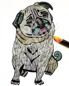 Poster Print Ares The Pug 8x10 or 11x14 For by PomGraphicDesign