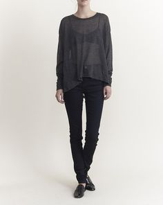 Objects Without Meaning - York Longsleeve Top in Black/Charcoal Stripe