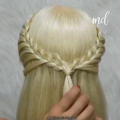 So pretty ✨✨ Easy Hairstyles For Long Hair, Braids For Long Hair, Up Hairstyles, Pretty Hairstyles, Braided Hairstyles, Front Hair Styles, Medium Hair Styles, Hair Style Vedio, Long Hair Video