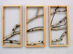 Birch Branch Wall Hanging Triptych Original Art by MadeAtTheLake Rustic Shabby Chic, Rustic Art, Urban Rustic, Tree Wall Art, Tree Art, Birch Branches, Birch Trees, Padded Wall, Branch Art