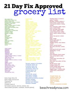 21 Day Fix Approved Grocery List #beachreadynow