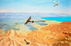 Study for 'The Dead Sea: An Enemy Aeroplane over the Dead Sea, Palestine' by Sydney William Carline IWM (Imperial War Museums)      Date painted: 1919     Oil on canvas, 44.2 x 67.4 cm     Collection: IWM (Imperial War Museums)