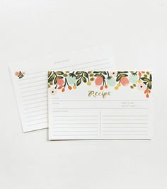 Thank you to the sweet ladies at Rock Paper Scissors for helping me find EXACTLY the recipe cards from RIFLE PAPER CO. that I wanted for my mom's 60th bday party!