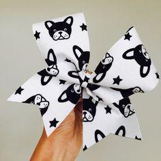 Big French bulldog cheer bow! Free shipping!