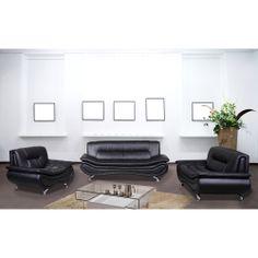 Christina Black Leather Sofa Set | Overstock.com Shopping - The Best Deals on Living Room Sets