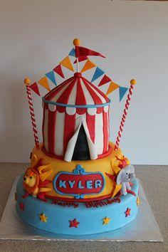 circus birthday cake for Leland's birthday Clowns For Birthday Parties, Carnival Birthday, Birthday Celebration, 1st Bday Cake, 1st Boy Birthday, Birthday Ideas, Birthday Cakes, Vintage Circus Party, Circus Cakes