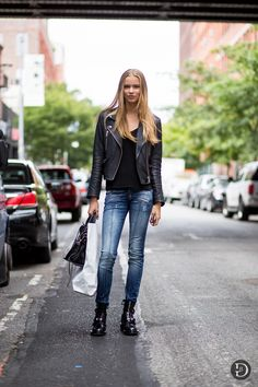 Fab. Off duty leather and denim. Street style