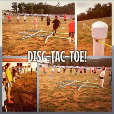 Everyone stands around in a big circle. Half on X team, half on O team (or blue and red, or whatever) and teams take turns throwing discs in to the middle. First team to get 3 in a row wins. To mix it up, you can allow one or two people from each team inside …