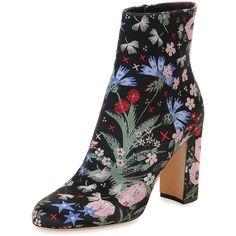 Valentino Garden-Print Jacquard Boot (22.839.510 IDR) ❤ liked on Polyvore featuring shoes, boots, ankle booties, multi, high heel boots, valentino boots, black chunky heel booties, black boots and chunky heel boots