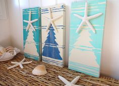 Nautical Christmas Beach Sign Starfish Christmas Tree. $37.95, via Etsy.