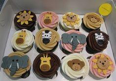 Zoo Cupcakes by confectioneiress lion, giraffe, monkey, zebra, elephant Jungle Cupcakes, Animal Cupcakes, Themed Cupcakes, Mini Cupcakes, Cupcake Art, Cupcake Cakes, Cupcake Ideas, Zoo Birthday, Birthday Ideas