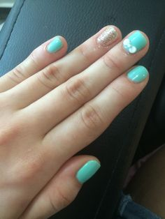 Tiffany themed nails with a mini 3d ribbon for short nails