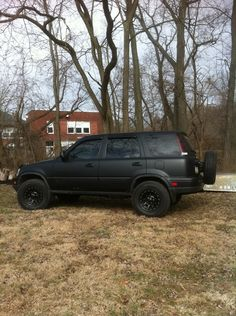 Back of flat black offroad CRV