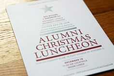 This simple, typographic invite was created to encourage Loyola Aumni to attend the University's annual holiday luncheon. Printing the invitation using letterpress gave it a tactile feel. Christmas Lunch, Christmas Holidays, Christmas Ideas, Invitation Design, Invitations, Letterpress, Encouragement, Brunch, Design Inspiration