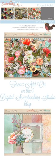 Join us for the Round Robin Challenge and enjoy a FREE Add On to get started!   #thestudio #digitalscrapbooking #studioroundrobin #freebie