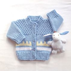 Fair Isle Baby cardigan 0 to 6 months Baby boy by LurayKnitwear