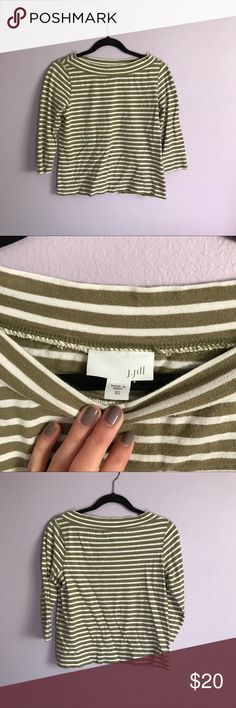 Striped 3/4 Sleeve Olive J. Jill Blouse Sweater Beautiful and in great condition! Green and white top from J. Jill. J. Jill Tops Blouses