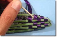How to Make Lavender Wands: If bits of flower stick out between the stems and ribbon, poke them back into place with a toothpick.