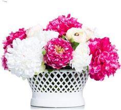 Pink & White Peonies in White Lattice Bowl Faux Flower Arrangements, Faux Flowers, Peonies, Vase, Design, Home Decor, Fake Flowers, Decoration Home, Room Decor
