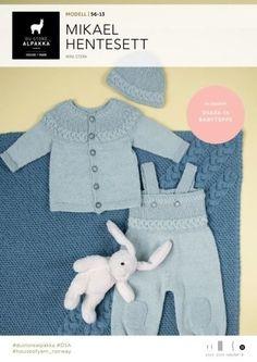 Mikael hentesett, designet av Trine Lise Høyseth for DSA Knitting For Kids, Baby Knitting Patterns, Chrochet, Knit Crochet, Baby Barn, Baby Leggings, Inspiration For Kids, New Baby Products, Free Pattern