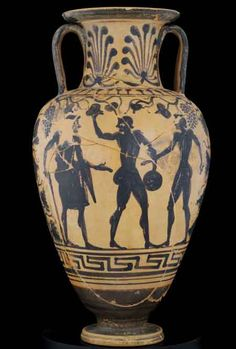 Etruscan black-figure neck amphora. | Museo civico archeologico Chianciano Terme