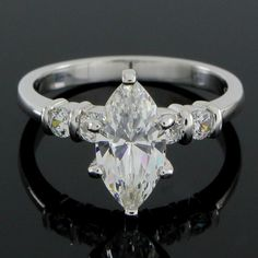 2.12 ct VVS1 Marquise Cut Diamond Solitaire w/ Accent Engagement Ring R942 #Affinityjewelry #SolitairewithSideAccent